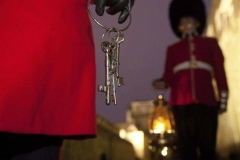 HRP 06210.  The Tower keys are carried by the Chief Yeoman Warder.At this ceremony, a version of which has been performed nightly for hundreds of years, the outer gates of the fortress are locked and the keys delivered to the Governor of the Tower